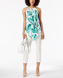 Alfani Printed Pointed-Hem Top & PRIMA Slim-Leg Ankle Pants, Created for Macy's