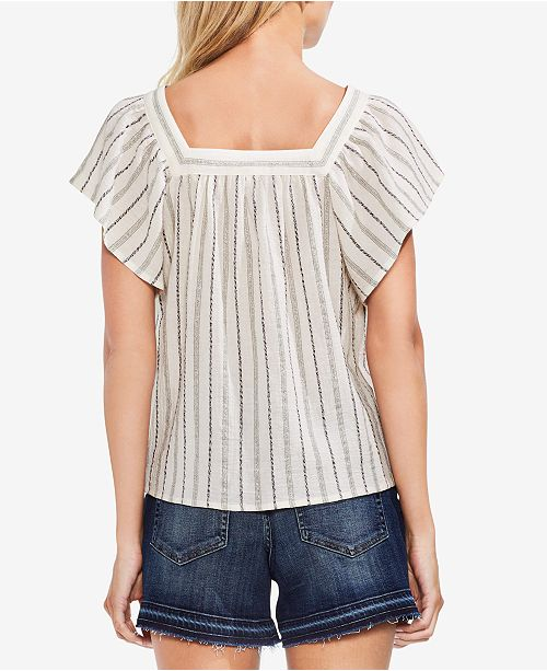 Top Peasant Stripe Camuto Metallic Canopy Green Vince wOIq46Rzz