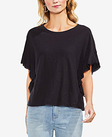 Vince Camuto Cotton Ruffled-Sleeve Top