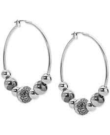Decorative Bead Hoop Earrings in Sterling Silver
