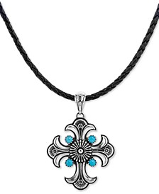 "Turquoise Cross Braided Leather Pendant Necklace (1-3/4 ct. t.w.) in Sterling Silver, 16"" + 2"" extender"