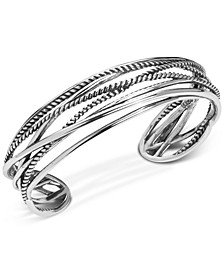 Polished & Rope Multi-Strand Cuff Bracelet in Sterling Silver