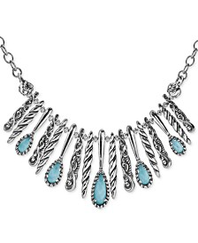 "Carolyn Pollack Turquoise/Rock Crystal Doublet Statement Necklace in Sterling Silver, 17"" + 3"" extender"