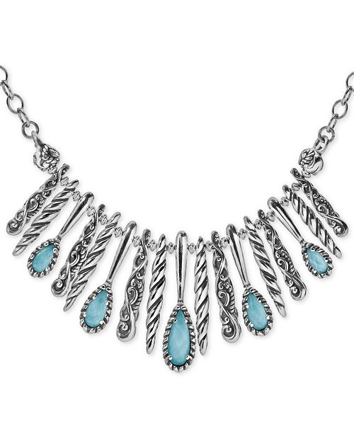 """Carolyn Pollack Turquoise/Rock Crystal Doublet Statement Necklace in Sterling Silver, 17"""" + 3"""" extender"""