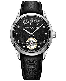 LIMITED EDITION Men's Swiss Automatic Freelancer AC/DC Black Leather Strap Watch 42mm - a Limited Edition