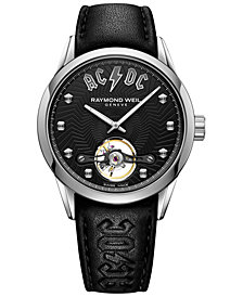 Raymond Weil Men's Swiss Automatic Freelancer AC/DC Black Leather Strap Watch 42mm - a Limited Edition