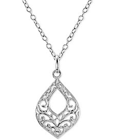 "Giani Bernini Filigree 18"" Pendant Necklace in Sterling Silver, Created for Macy's"
