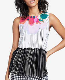RACHEL Rachel Roy Ruffled Mixed-Print Top, Created for Macy's