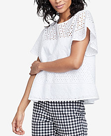 RACHEL Rachel Roy Cotton Pupetto Eyelet Top, Created for Macy's