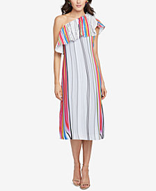 RACHEL Rachel Roy Rainbow Striped One-Shoulder Dress, Created for Macy's