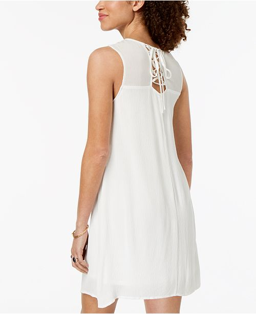 Trixxi Dress Ivory Embroidered Lace Up Juniors' YrwqrTnxCA
