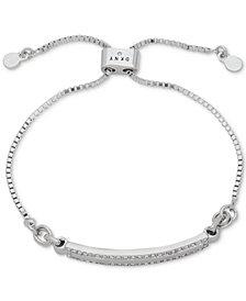 DKNY Silver-Tone Pavé Bar Slider Bracelet