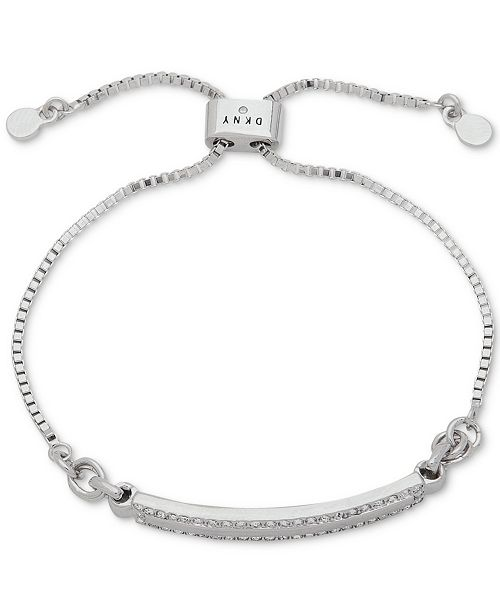 DKNY Silver-Tone Pavé Bar Slider Bracelet, Created for Macy's
