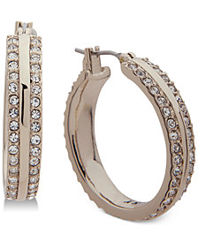 "DKNY Gold-Tone Pavé 1"" Hoop Earrings"