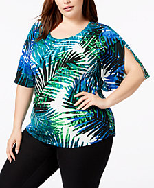 Calvin Klein Plus Size Printed Split-Sleeve Top