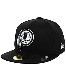 Washington Redskins Black And White 59FIFTY Fitted Cap