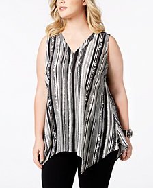 NY Collection Plus Size Striped Handkerchief-Hem Top