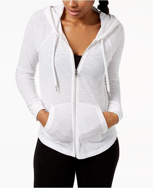 Calvin Klein Ruched-Sleeve Zip Hoodie