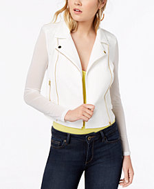 Material Girl Juniors' Illusion Textured Moto Jacket, Created for Macy's