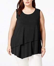 Plus Size Tiered Asymmetrical-Hem Top, Created for Macy's