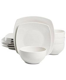 Martha Stewart Essentials Soft Square 12-Pc. Dinnerware Set Created for Macyu0027s  sc 1 st  Macyu0027s & White Dinnerware u0026 Dishes - Macyu0027s