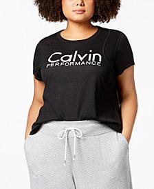 Calvin Klein Performance Plus Size Logo Inset Shoulder Seams T-Shirt