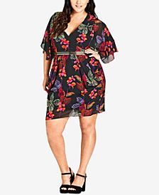 City Chic Trendy Plus Size Draped A-Line Dress