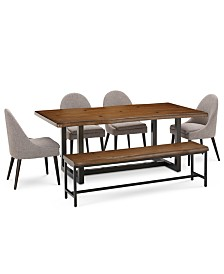 Everly Dining Furniture, 6-Pc. Set (Table, 4 Round Back Side Chairs, & Bench), Created for Macy's