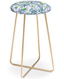 Deny Designs Emanuela Carratoni Blue Tropical Blossom Counter Stool