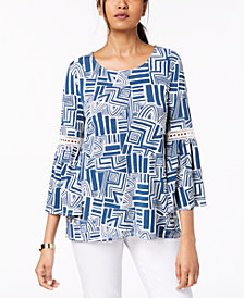 Alfani Printed Crochet-Trim Top, Created for Macy's