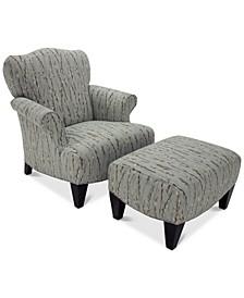 Walton Fabric Press Back Chair & Ottoman Set