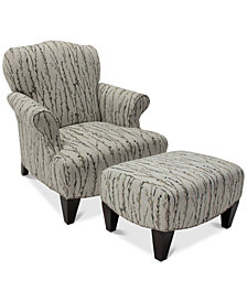 Walton Fabric Press Back Chair & Ottoman Set
