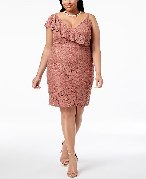 Soprano Trendy Plus Size Ruffled Lace Bodycon Dress Dresses Plus