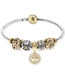 Rhona Sutton Cubic Zirconia Tree of Life Charm Bangle Bracelet Gift Set in Sterling Silver