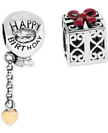 Rhona Sutton 2-Pc. Set Happy Birthday Balloon & Gift Box Bead Charms in Sterling Silver & Gold-Plate