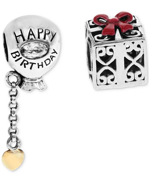 Rhona Sutton 2 Pc Set Happy Birthday Balloon Gift Box Bead Charms In