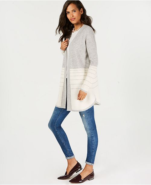 Ice Grey for Club Macy's Cashmere Pure Charter Created Stripe Combo Sweater Textured OwaTqR