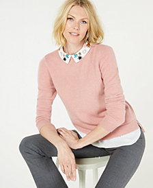 Charter Club Pure Cashmere Layered Look Sweater with Floral Collar, Created for Macy's