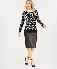 Charter Club Pure Cashmere Graphic Boatneck Sweater, Created for Macy's
