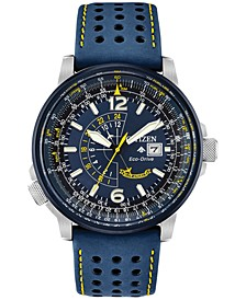 Eco-Drive Men's Angel Nighthawk Blue Leather Strap Watch 42mm