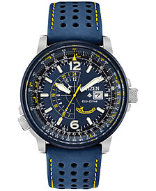 Citizen Eco-Drive Men's Angel Nighthawk Blue Leather Strap Watch 42mm