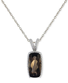 "Smokey Quartz Pendant Necklace (5 ct. t.w.) in Sterling Silver, 16"" + 2"" extender"