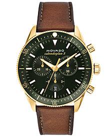 Movado Men's Swiss Chronograph Heritage Series Calendoplan Cognac Leather Strap Watch 42mm