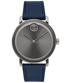 Men's Swiss BOLD Evolution Navy Leather Strap Watch 40mm