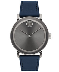 Movado Men's Swiss BOLD Evolution Navy Leather Strap Watch 40mm