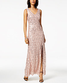 Nightway Sequined Lace Slit Gown