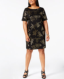 Karen Scott Plus Size Metallic-Print T-Shirt Dress, Created for Macy's