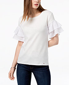 Tommy Hilfiger Cotton Tiered-Ruffle Cuff Top, Created for Macy's