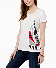 Tommy Hilfiger Patchwork Sailboat Graphic T-Shirt, Created for Macy's