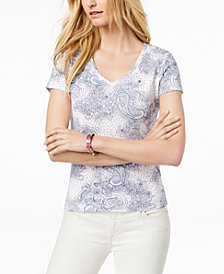 Tommy Hilfiger Cotton Printed V-Neck T-Shirt, Created for Macy's